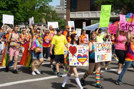 Salt Lake City Utah USA  June 7 2015. Members of the group PFLAG march in the Salt Lake City Utah Gay Pride Parade. Éditoriale