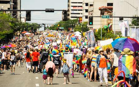 marchers: Salt Lake City Utah USA  June 7 2015. Marchers in the Salt Lake City Utah Gay Pride Parade. Editorial