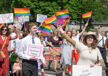 salt lake city: Salt Lake City Utah USA  June 7 2015. Members of the group Mormons Building Bridges march in the Salt Lake City Utah Gay Pride Parade. Editorial