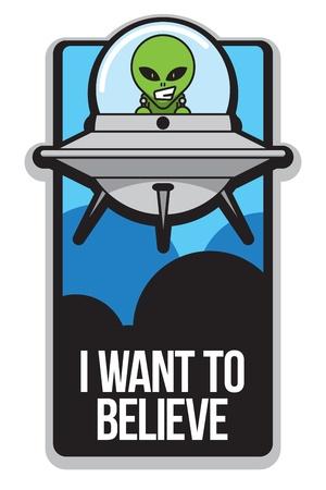 ufo: Cartoon Alien Poster Illustration