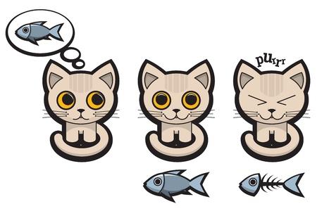 cat s: Set of Cat s Emotions Illustration