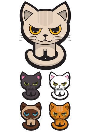 Set of Five Adorable Cats Vector