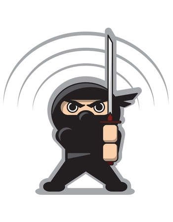 Angry Ninja with the Sword Illustration
