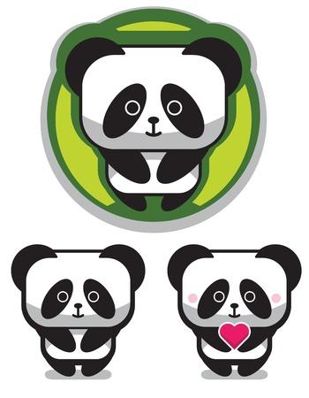 Cute Romantic Panda Bear Illustration