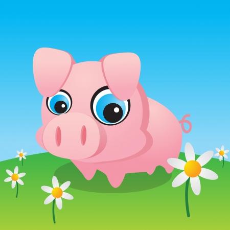데이지에 둘러싸여 귀여운 작은 돼지 일러스트