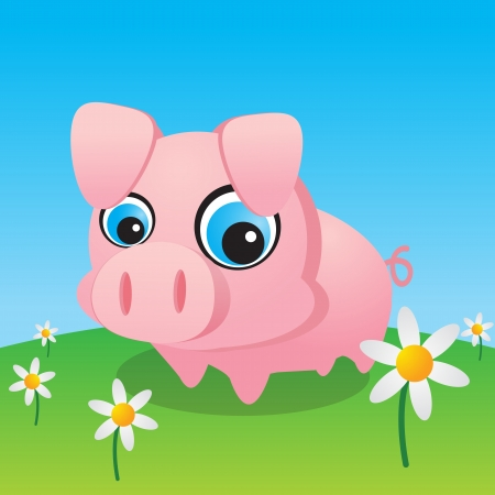 Cute Little Pig Surrounded By Daisies