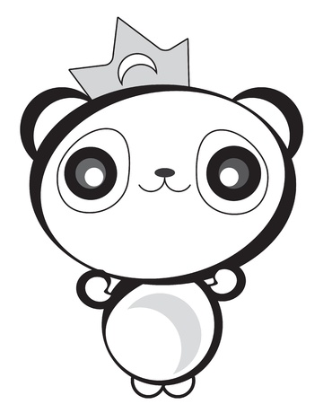 귀여운 해피 팬더 곰 일러스트
