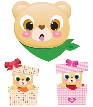 Cute Teddy Bears In Boxes Vector
