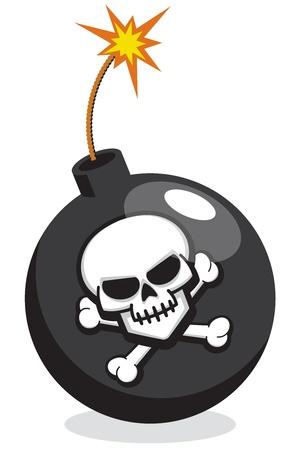 Cartoon Bomb with Skull and Crossbones Illustration