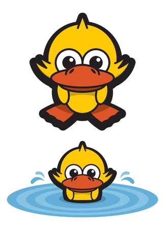 Funny Duckling Swimming in the Pond Illustration