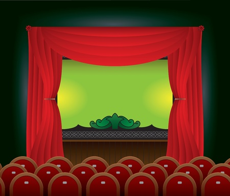 Stage and the screen in an empty cinema hall.  Vector