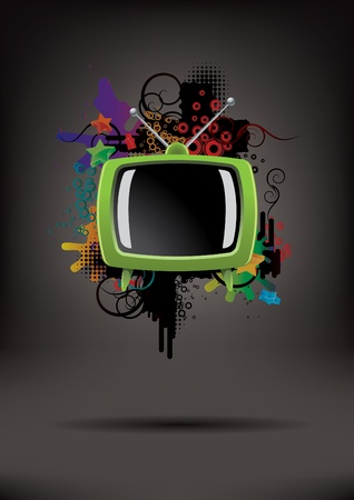 Abstract poster with the TV Stock Vector - 9467586