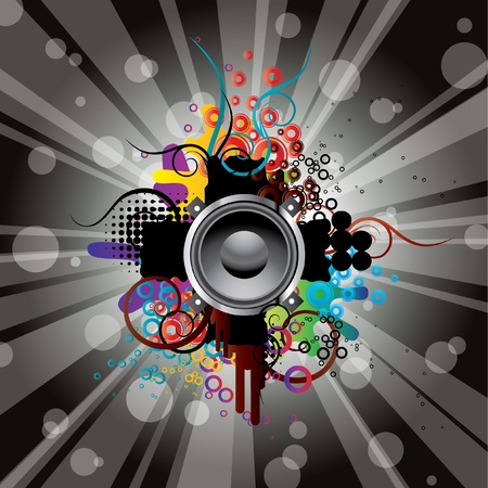 Abstract picture with musical themes.  Illustration