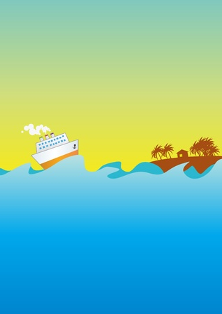 steamship: Steamship which floats to island washed by waves