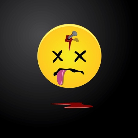 despondency: Dead yellow smile with a nail in a forehead.  Illustration