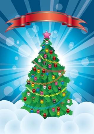 christmastree: Vectorial postcard to a new year