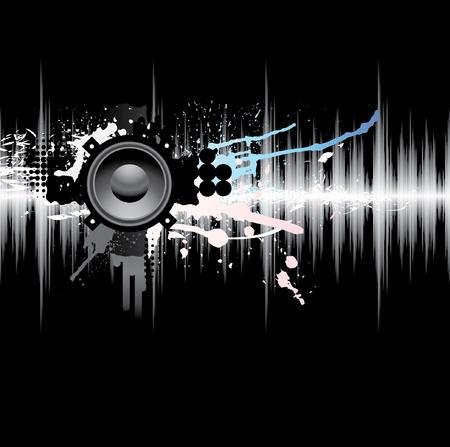 geluid: Abstract sjabloon met een geluidsgolf en de luidspreker.