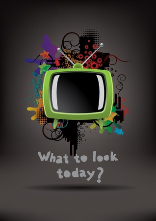 retro tv: Abstract poster with the TV