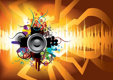 Abstract template with a sound wave and the speaker.  Vector