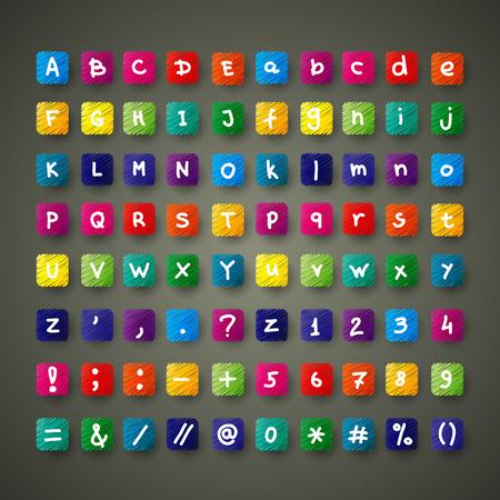 font alphabet: Colour font set