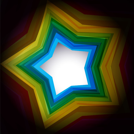 Empty colour star on black background Vector