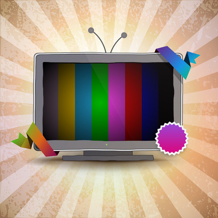 tv scherm: TV box met een leeg scherm Stock Illustratie