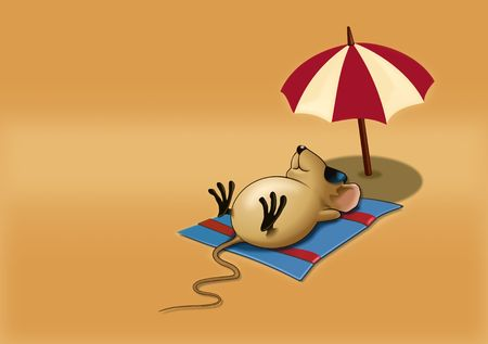 Mouse Sleepy on a Beach Stock Photo - 3829396