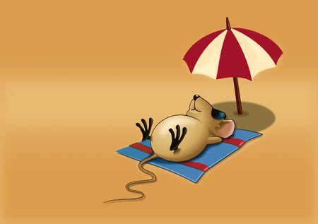 Mouse Sleepy on a Beach Stock Photo - 3829396