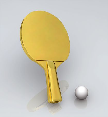 Ping Pong Gold Bat - Isolated