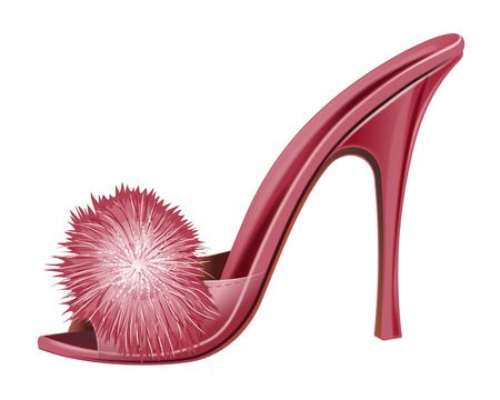 wearing sandals: Red Lady Shoe - Isolated