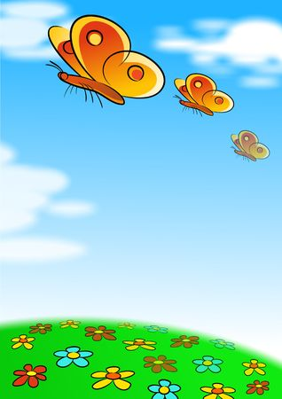 Butterflies and Blue Sky Stock Photo - 4144371