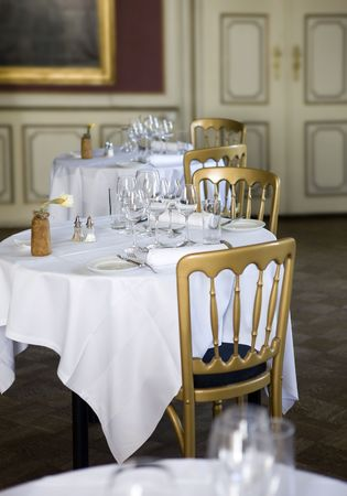 Restaurant - Classic dining tables Stock Photo