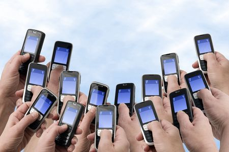 sms text: Mobil Phones - Many Hands and Phones