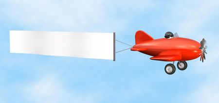 old plane: Airplane with Banner - isolated