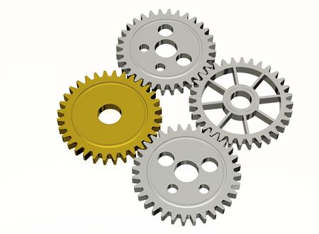 Gear - Gold and Silver, isolated