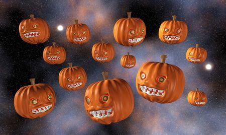 Halloween Pumpkins Flying, isolated photo