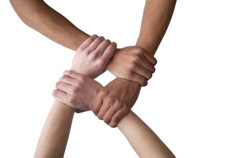 together concept: Manos - holding mutuamente