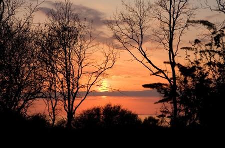 Landscape - Sunset Early Spring Stock Photo