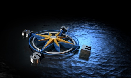 magnetic north: Compass on Water Stock Photo
