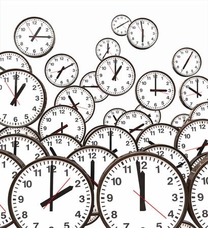face work: Clocks Floating Stock Photo