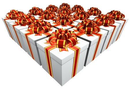Presents with Red and Gold band Stock Photo