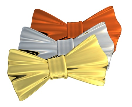 Bowtie Gold, Silver and Bronze, isolated Stock Photo - 13511094
