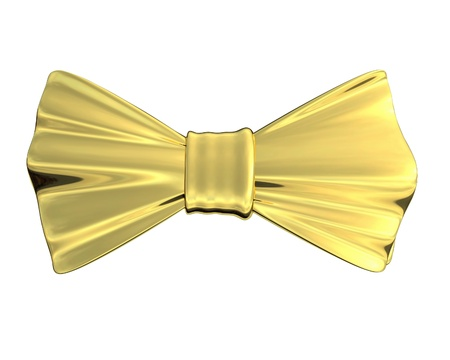 Bowtie Gold, isolated Stock Photo