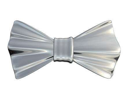 silver dress: Bowtie Silver, isolated Stock Photo