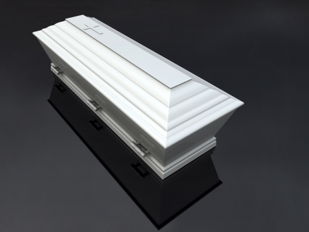 Funeral Casket White, isolated Stock Photo