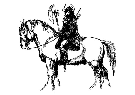 horse warrior: Horse and Viking  Ink drawing I did years ago