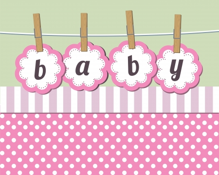 baby announcement: Baby girl arrival announcement card Illustration