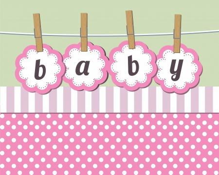 Chica llegada del bebé anuncio de la tarjeta