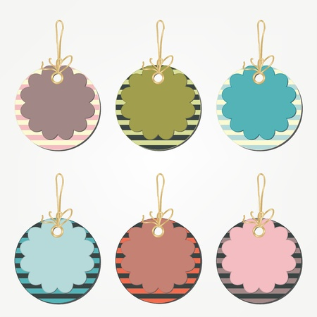 Set of floral price tags with stripes
