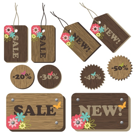 Set of wood tags with flowers